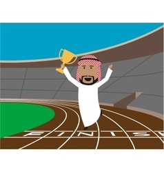 Arabian businessman wins the trophy vector image