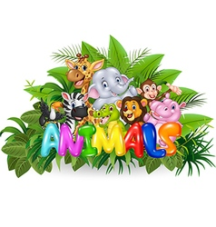 Word animal with cartoon animal vector