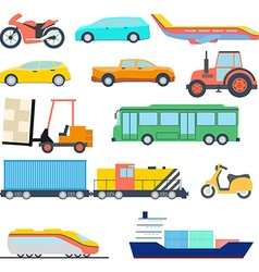 Transport flat icon perfect flat car ship and vector