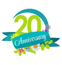 Cute nature flower template 20 years anniversary vector