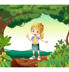 A girl standing on a dry wood vector image vector image