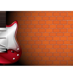 A guitar in front of a brick wall vector image vector image