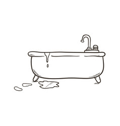 Bathroom tub draw vector