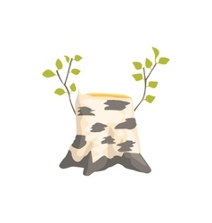 Birch tree stump with the fresh growth isolated vector