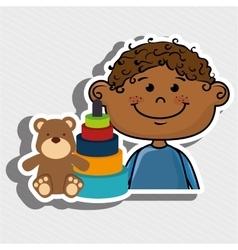 Boy toys happy cartoon vector
