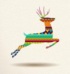 Christmas reindeer in fun geometric art style vector image vector image