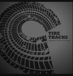 Circular tire track on dark background vector