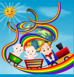 cute baby and train on the rainbow vector image vector image