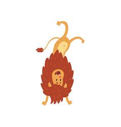 Cute lion cub cartoon character standing upside vector