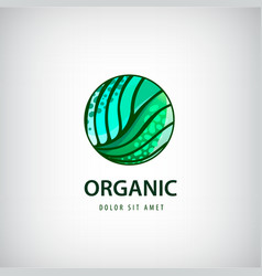 eco organic healthy natural food logo vector image