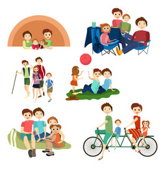 flat icons set of family characters camping vector image vector image