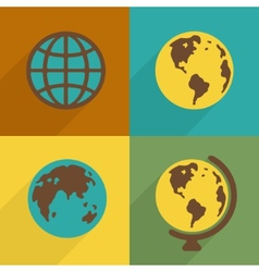 Flat Planet symbol set vector image vector image
