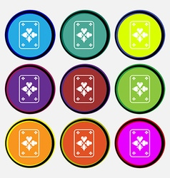 Game cards icon sign nine multi colored round vector