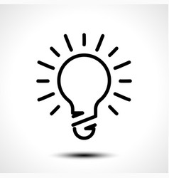 Glowing bulb icon on white background vector