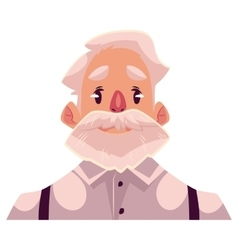 Grey haired old man face neutral facial vector
