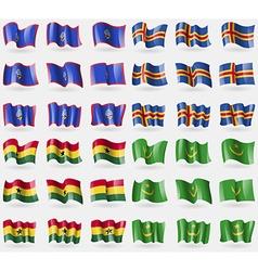 Guam aland ghana mauritania set of 36 flags of the vector