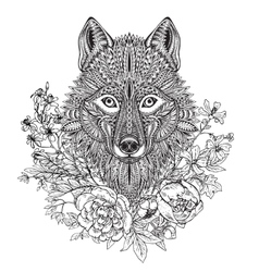 Hand drawn graphic ornate head of wolf with ethnic vector