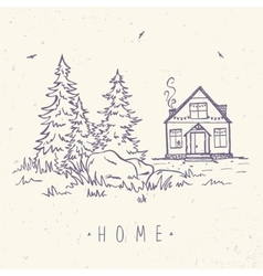 House and spruce vector