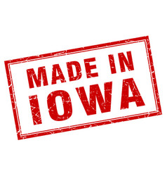 Iowa red square grunge made in stamp vector