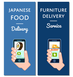 Japanese food and furniture delivery flyers vector