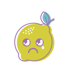 Kawaii nice crying lemon icon vector