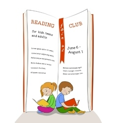 Kids reading education club advertisement vector image vector image