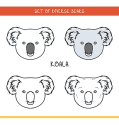 Koala bear Set isolated face heads bear in color vector image vector image