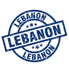 lebanon blue round grunge stamp vector image vector image