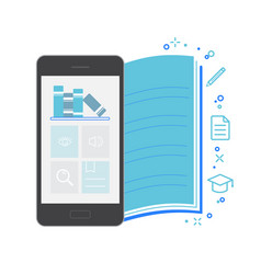Mobile application interface bookstore vector