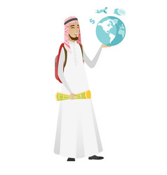 Muslim traveler man holding map and globe vector