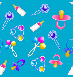 Seamless pattern of baby rattles and pacifiers vector