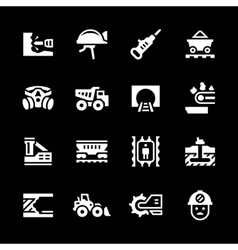 Set icons of mining vector