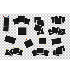 Set of square frames on sticky tape pins and vector