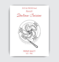 Sketch - ravioli card italian vector