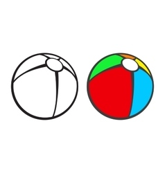 Toy beach ball for coloring book isolated on vector image