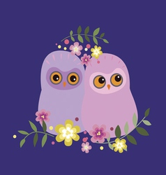 Two owls in flowers vector image vector image