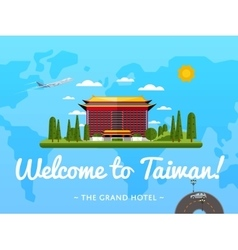 Welcome to taiwan poster with famous attraction vector