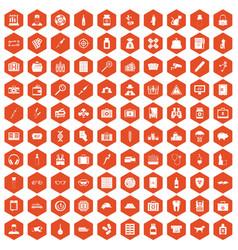 100 case icons hexagon orange vector