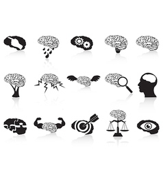 Brain conceptual icons set vector