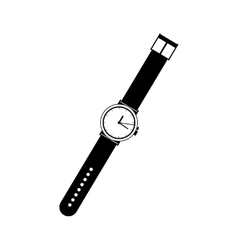 Black silhouette wristwatch for man vector