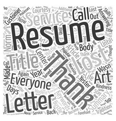 The lost art of resume thank you letters word vector