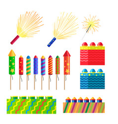 collection of fireworks new year decorations vector image