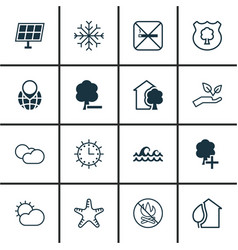 Set of 16 eco-friendly icons includes clear vector