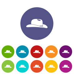 cowboy hat set icons vector image