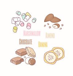 sweets - marshmallow almond chocolate and banana vector image