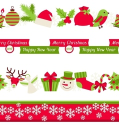 Merry christmas seamless borders vector