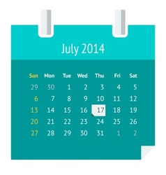 Flat calendar page for july 2014 vector