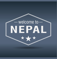 Welcome to nepal hexagonal white vintage label vector