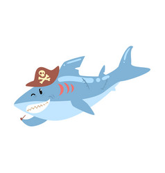 Funny cartoon shark pirate in a hat smoking pipe vector