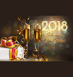 2018 new year card with champagne glasses vector image